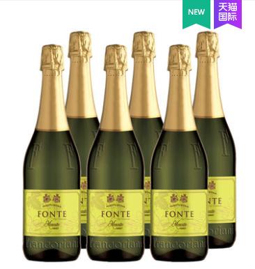 《【天猫国际】意大利芙兰特莫斯卡托甜起泡酒 6支 88会员40.23元(双重优惠)》