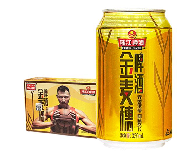 《【京东自营】珠江啤酒 金麦穗啤酒小麦啤酒 330mL*24听 42.33元(双重优惠)》