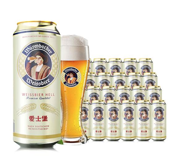 《【苏宁自营】爱士堡(aisburg)小麦白啤酒500ml*24听  87元(双重优惠)》
