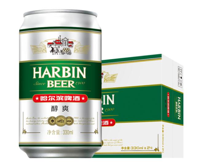 《【京东plus】哈尔滨(Harbin)啤酒 醇爽啤酒330ml*24听 plus36元》