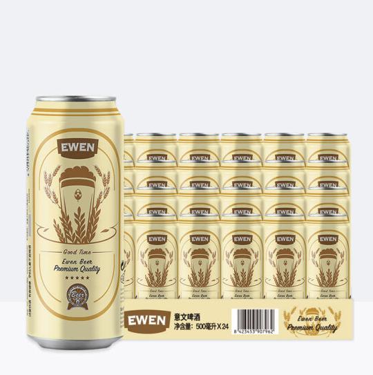 《【京东自营】意文(EWEN)西班牙 麦芽啤酒 500ml*24听 67.8元(双重优惠)》